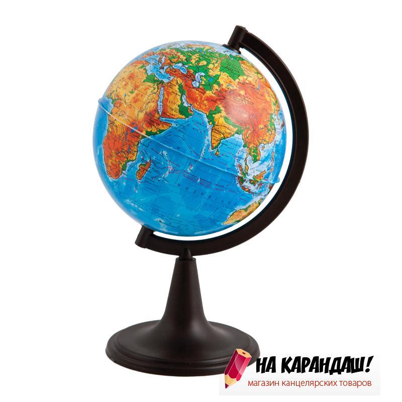 Глобус физический диаметр 120мм а круглой подставке 10001