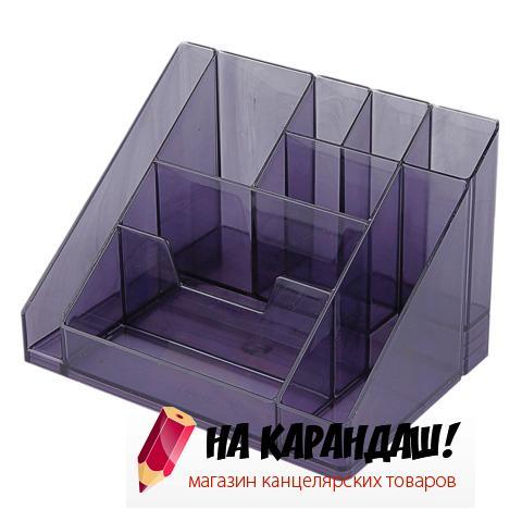 Подставка-органайзер для офисных принадлежностей пластиковая 9 отделений Каскад ОР14 тонированная серая