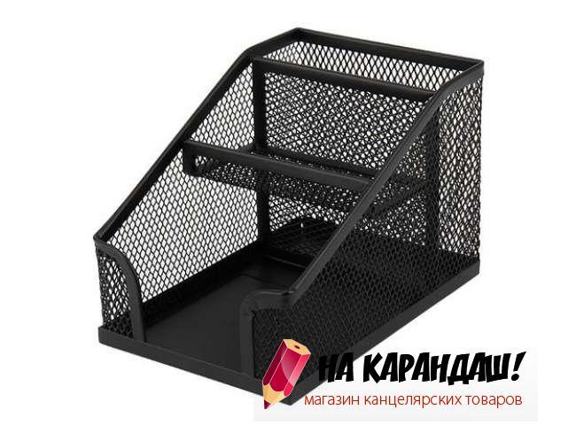 Подставка-органайзер для офисных принадлежностей металлическая сетка 3 отделения 2118-01 черная