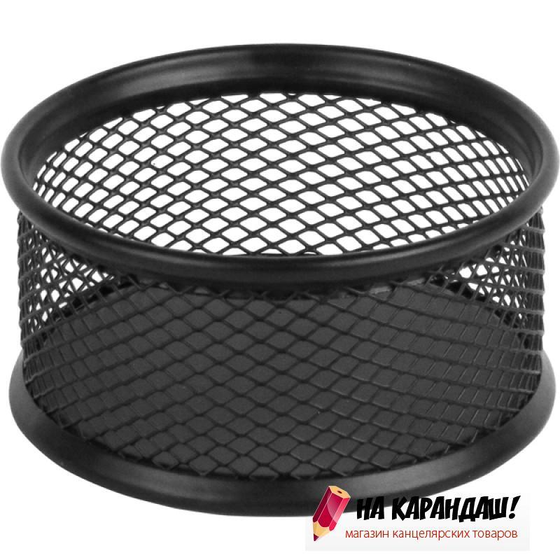 Подставка для скрепок круглая металлическая сетка черная 2113-01
