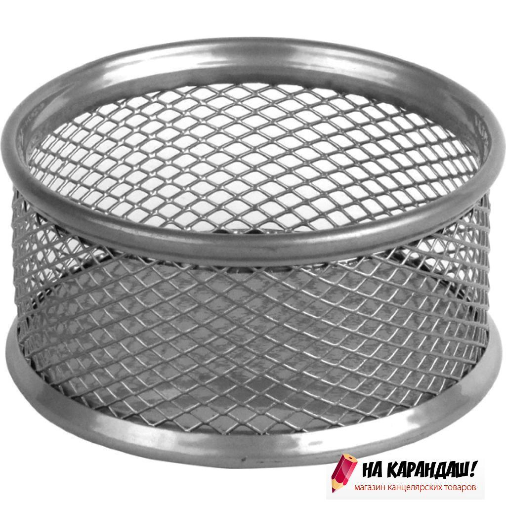 Подставка для скрепок круглая металлическая сетка серебристая 2113-03