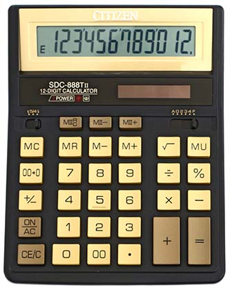 Калькулятор наст Citizen 12раз 158*203мм SDC-888TII Gold