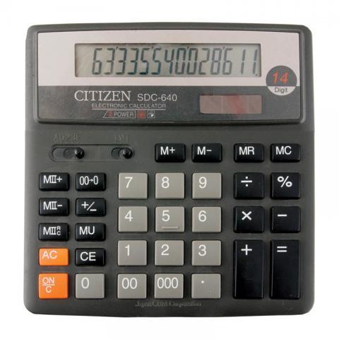 Калькулятор наст Citizen 14раз 156*159мм SDC-640II