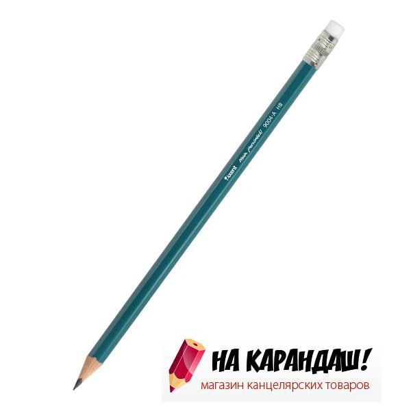 Карандаш графитный с ластиком 6-гр AX9004 НВ пласт /12/