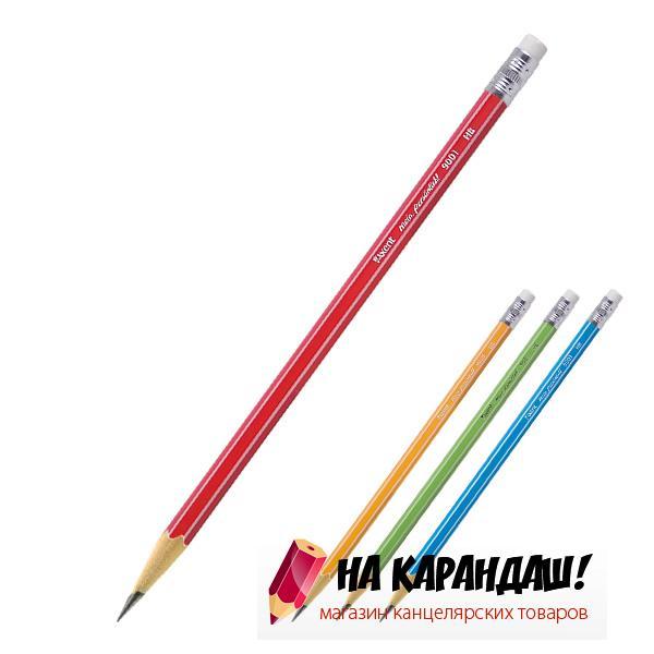 Карандаш графитный с ластиком 6-гр AX9001 НВ /12/
