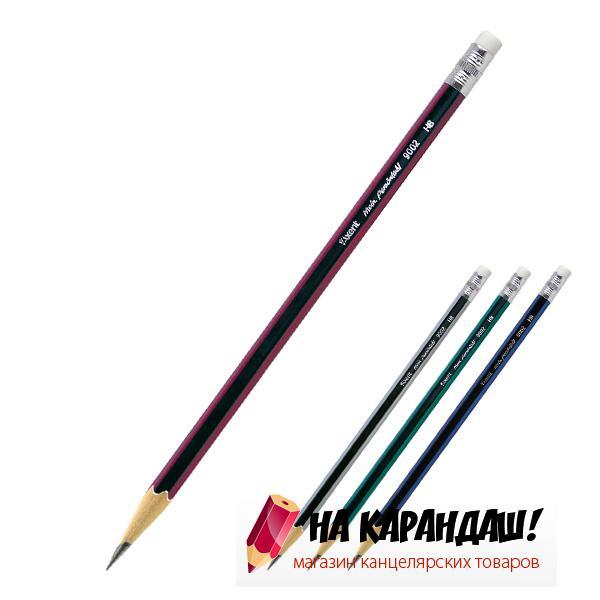 Карандаш графитный с ластиком 6-гр НВ mix АХ9002/12/