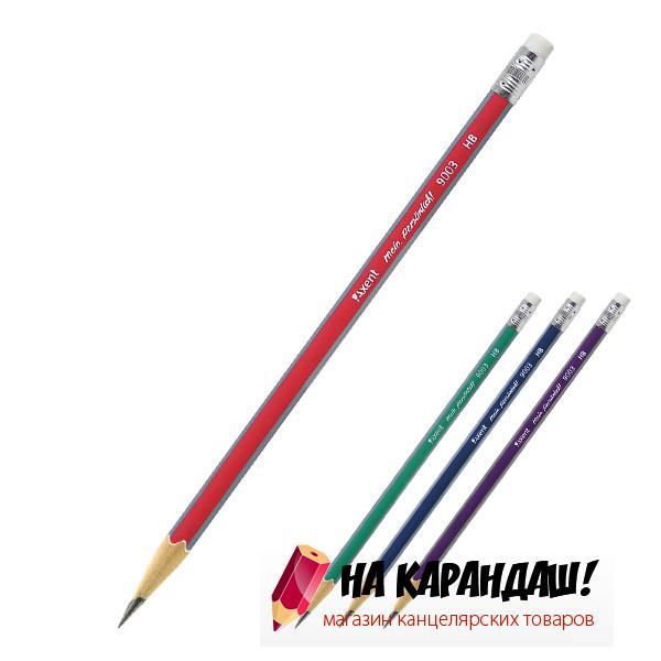 Карандаш графитный с ластиком 3-гр НВ mix АХ9003/12/