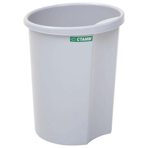 Корзина для бумаг пластик 12л серая СТАММ КР12