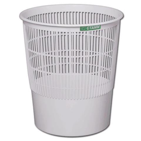Корзина для бумаг пластик 18л серая СТАММ КР02