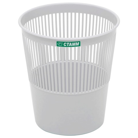 Корзина для бумаг пластик 9л серая СТАММ КР22
