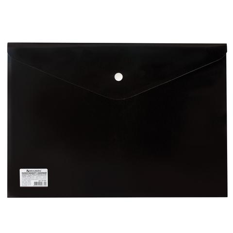 Конверт на кнопке А4 Brauberg 200мк н/пр 221361/30/черный
