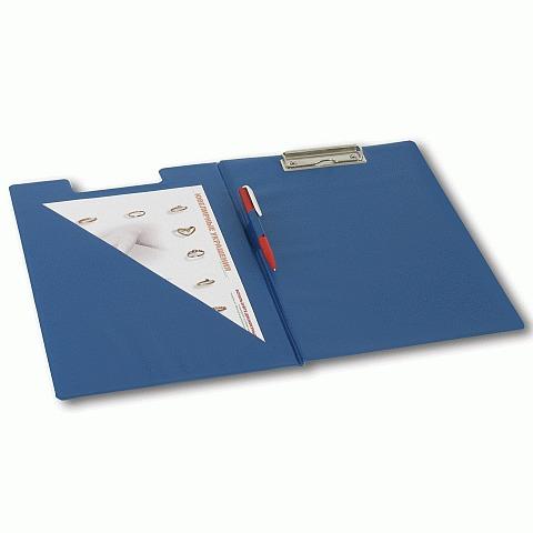 Клип-борд папка А4 ПВХ с карманом син Brauberg 221489