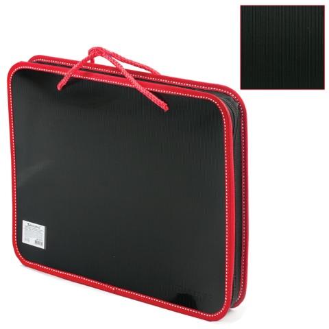 Папка н/молн А4 с руч 1отд пл Brauberg 225164 черный с красной отстрочкой