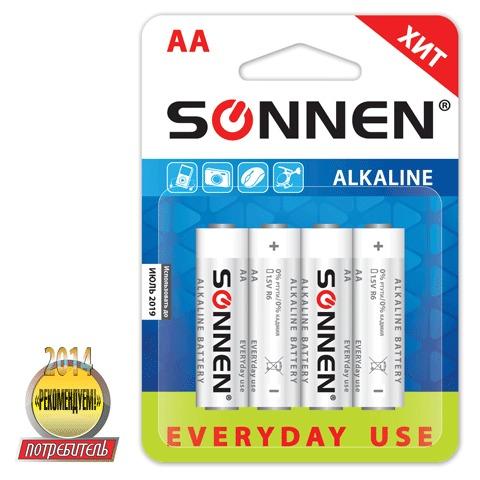 Батарейка Sonnen AA LR6 алкал 4шт/уп 451085
