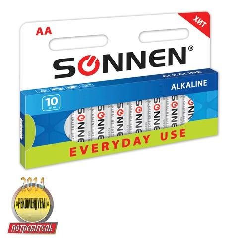 Батарейка Sonnen AA LR6 алкал 10шт/уп 451086
