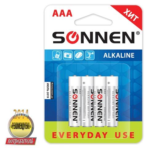 Батарейка Sonnen AAA LR03 алкал. 4шт/уп 451088