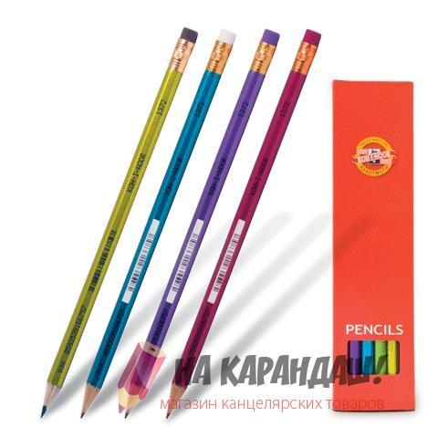 Карандаш графитный с ластиком 6-гр KIN-1372 НВ Oriental /12/