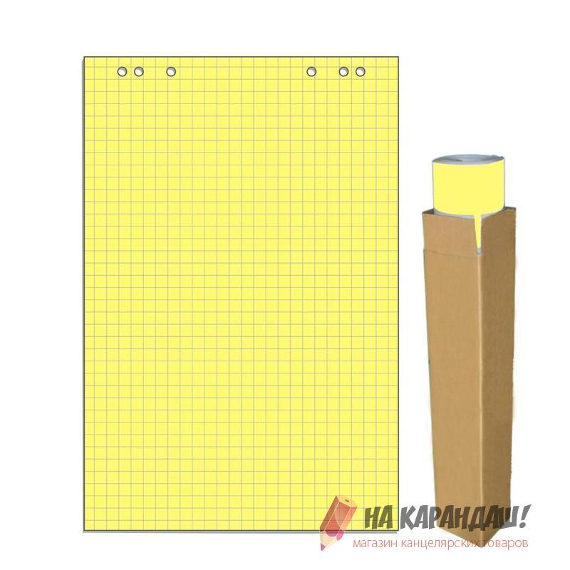 Блок д/флип 20л 68*98см клетка желтая пастель 659384