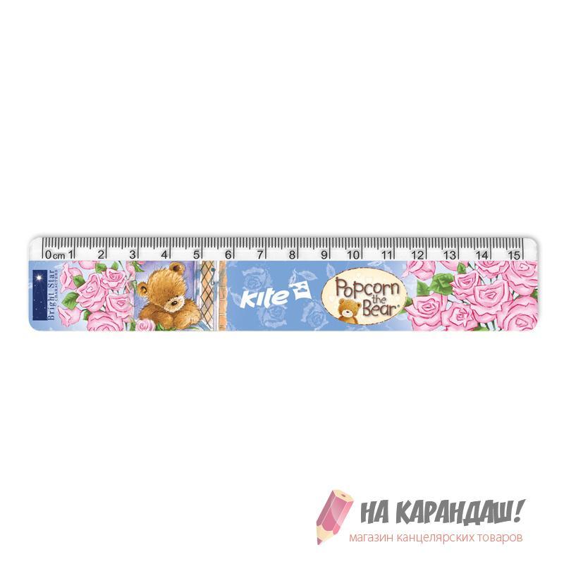 Линейка пластиковая 15см Popcorn PO17-090