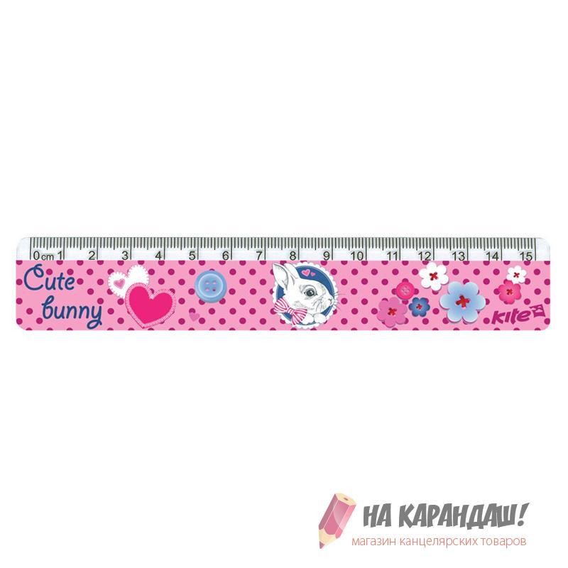 Линейка пластиковая 15см Cute Bunny K17-090-1