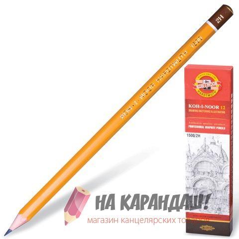 Карандаш графитный без ластика 6-гр KIN-1500 2Н /12/