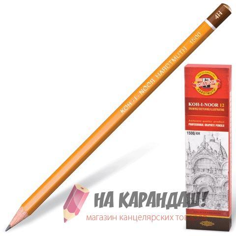 Карандаш графитный без ластика 6-гр KIN-1500 4Н /12/
