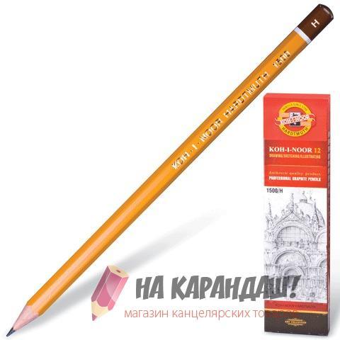 Карандаш графитный без ластика 6-гр KIN-1500 H /12/