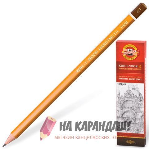 Карандаш графитный без ластика 6-гр KIN-1500 4В /12/