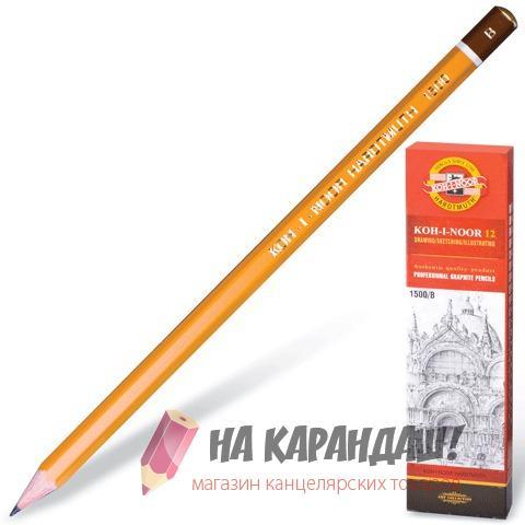 Карандаш графитный без ластика 6-гр KIN-1500 B /12/