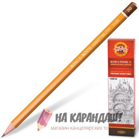 Карандаш графитный без ластика 6-гр KIN-1500 3В /12/