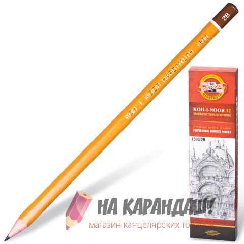 Карандаш графитный без ластика 2В KIN-1500