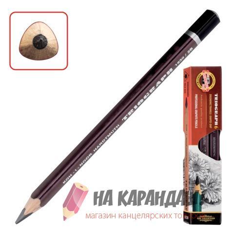 Карандаш графитный без ластика 3-гр KIN-1831 Triograph Jamba 6В /6/