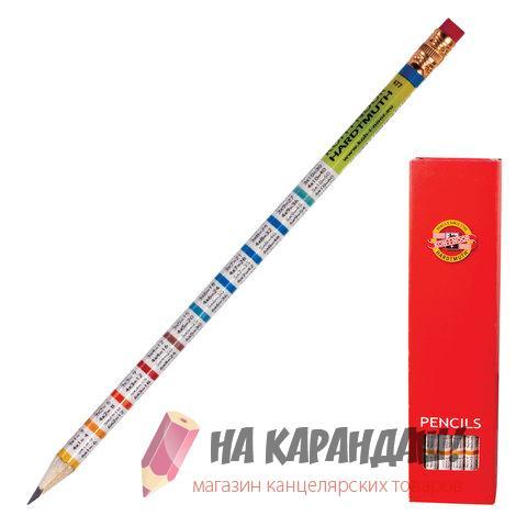 Карандаш графитный с ластиком круг KIN-1231 НВ Таблица умножения /12/