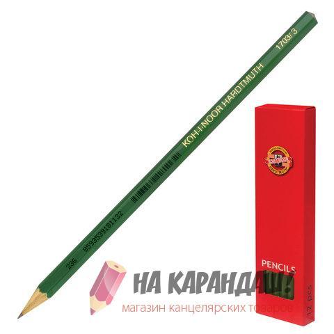 Карандаш графитный без ластика 6-гр KIN-1703 H /12/