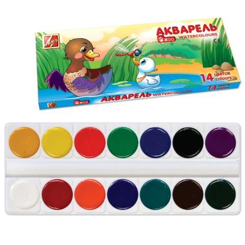 Краски акварельные медовые 14 цветов Zoo 22С1418-08