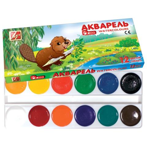 Краски акварельные медовые 12 цветов Zoo 19С1247-08