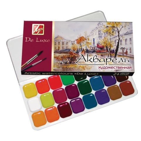 Краски акварельные художественные с использованием гуммиарабика 24 цвета De Luxe 14С1039-08