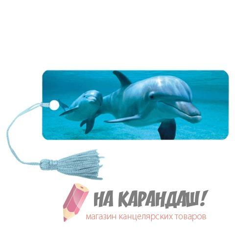Закладка пл с лин 3D Дельфин 152*57мм 6шт/уп Brauberg 125749