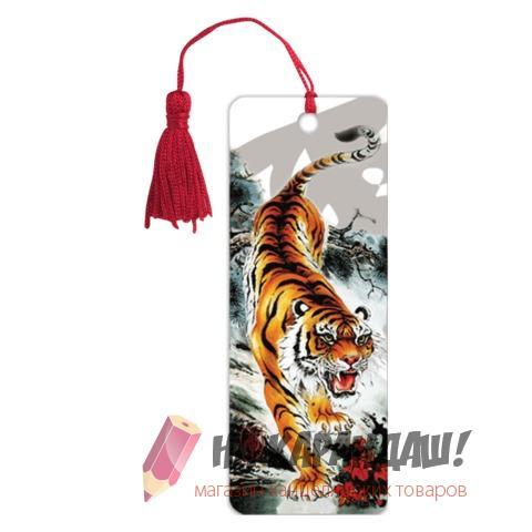 Закладка пл с лин 3D Бенгальский тигр 152*57мм 6шт/уп Brauberg 125755