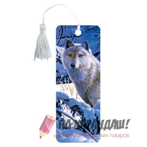 Закладка пл с лин 3D Белый волк 152*57мм 6шт/уп Brauberg 125752