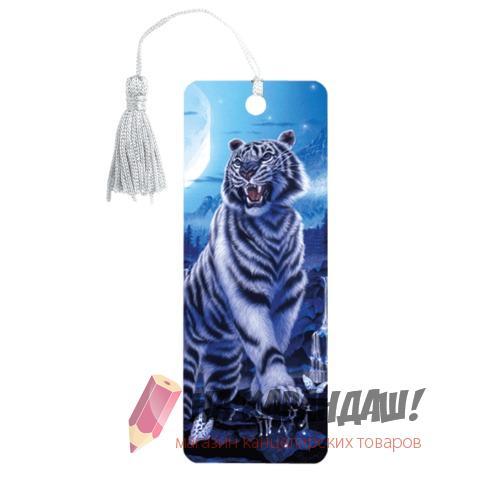 Закладка пл с лин 3D Белый тигр 152*57мм 6шт/уп Brauberg 125754