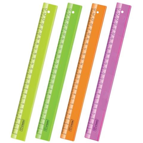 Линейка пластиковая 25см прозрачная Neon Cristal ЛН22