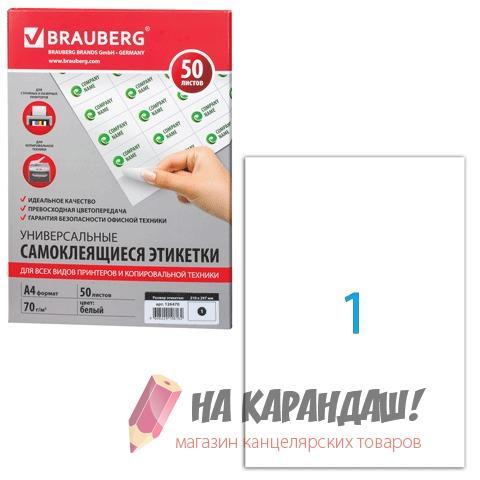 Этикетки скл (01) 210*297мм Brauberg 126470