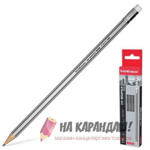 Карандаш графитный с ластиком 6-гр НВ Megapolis EK32860