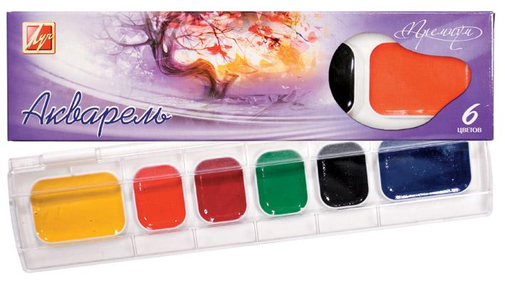 Краски акварельные на основе гуммиарабика 6 цветов Премиум 18С1211-08