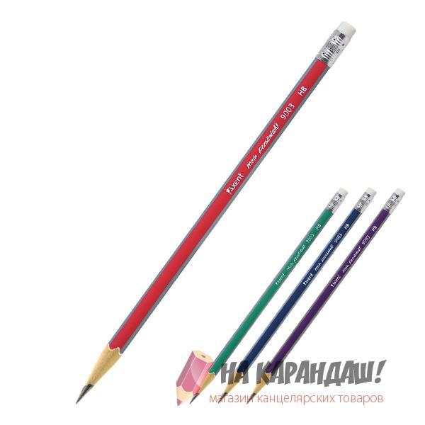 Карандаш графитный с ластиком 3-гр AX9003 НВ mix /100/