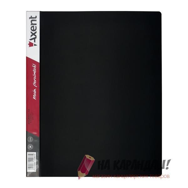 Папка 4-к А4 с карм 35мм 700мк черная Axent 1208