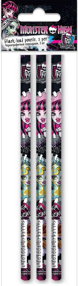 Набор карандашей графитных НВ б/л 3шт круг Monster High MHCB-US1-102-H3