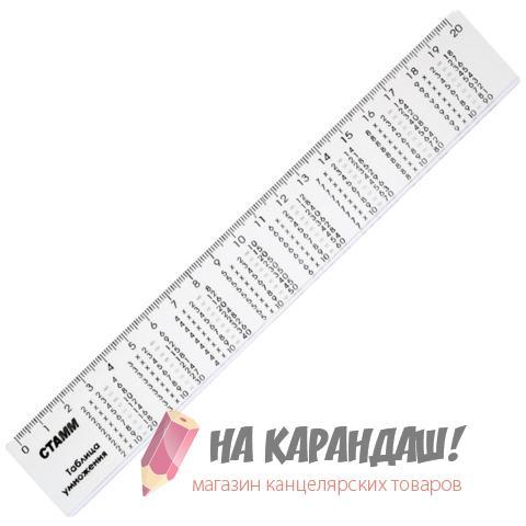 Линейка 200мм н/пр бел Таблица умножения СТАММ ЛС02
