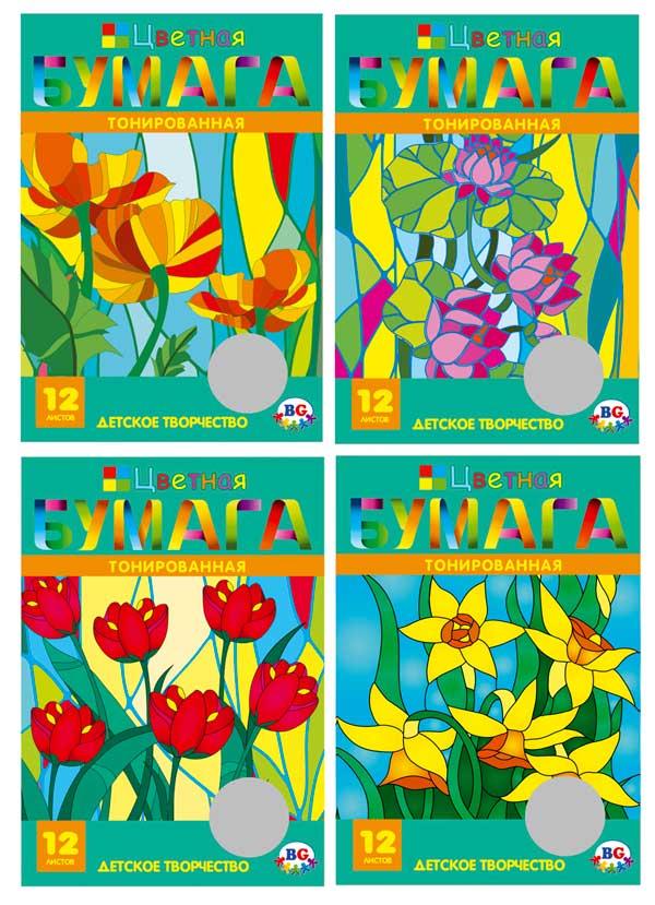 Набор цветной бумаги А4 тонированная 12 цветов 12 листов в папке Мозаика 1531